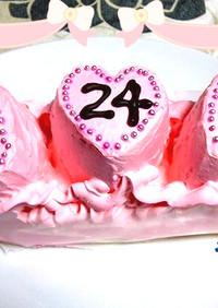 スイスロールdeピンクのハートケーキ♡
