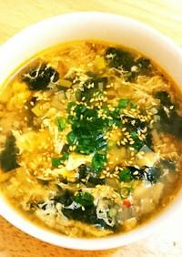 味付海苔の消費に☆ピリ辛のり玉スープ