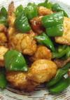 揚げ鶏とピーマンの甘辛炒め