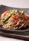 卯月製麺「牛肉とオクラの和風焼き蕎麦」