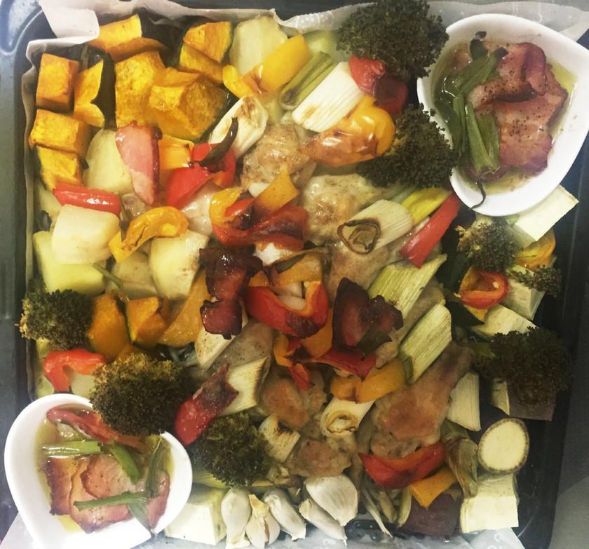 2種類のガーリックオイルで食べる秋野菜