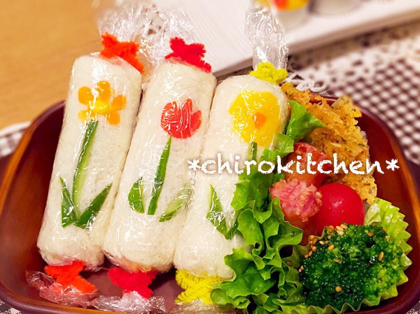 ❀可愛いお弁当❀お花のロールサンド