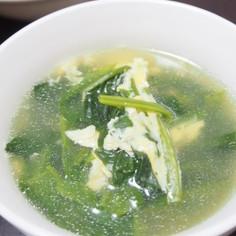 シャンタンdeほうれん草と卵の中華スープ