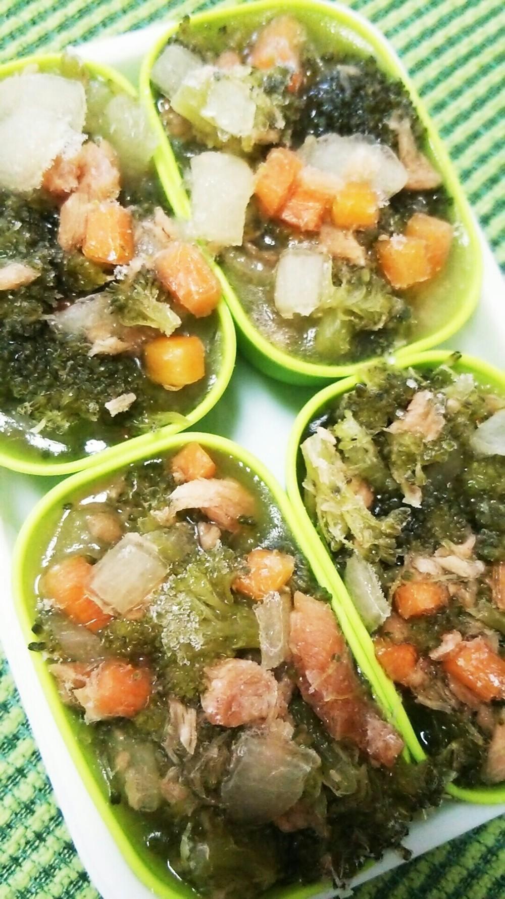 栄養満点の離乳食!野菜たっぷり冷凍鮭スープ