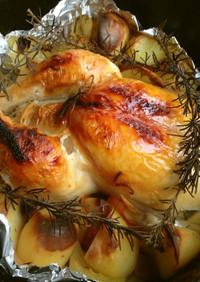 ダッチオーブンで丸鶏!アウトドアに