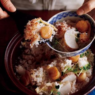 焼き帆立と長いもの土鍋ご飯