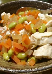 崩し豆腐と根菜に味が滲みてる冬煮物