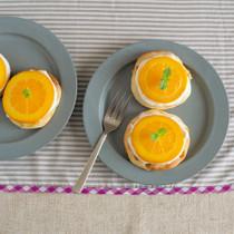 オレンジとヨーグルトソースのピザ