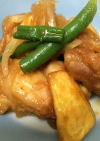 鶏肉とジャガイモのそうめんつゆ煮