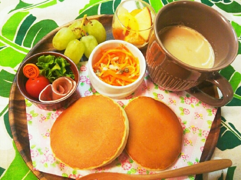 カフェ風ホットケーキの朝食ワンプレート♡