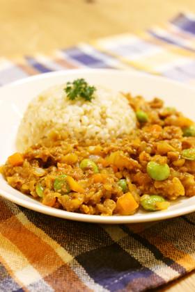大豆のお肉でキーマカレー風♪