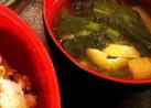 ほうれん草と揚げ 豆腐の味噌汁
