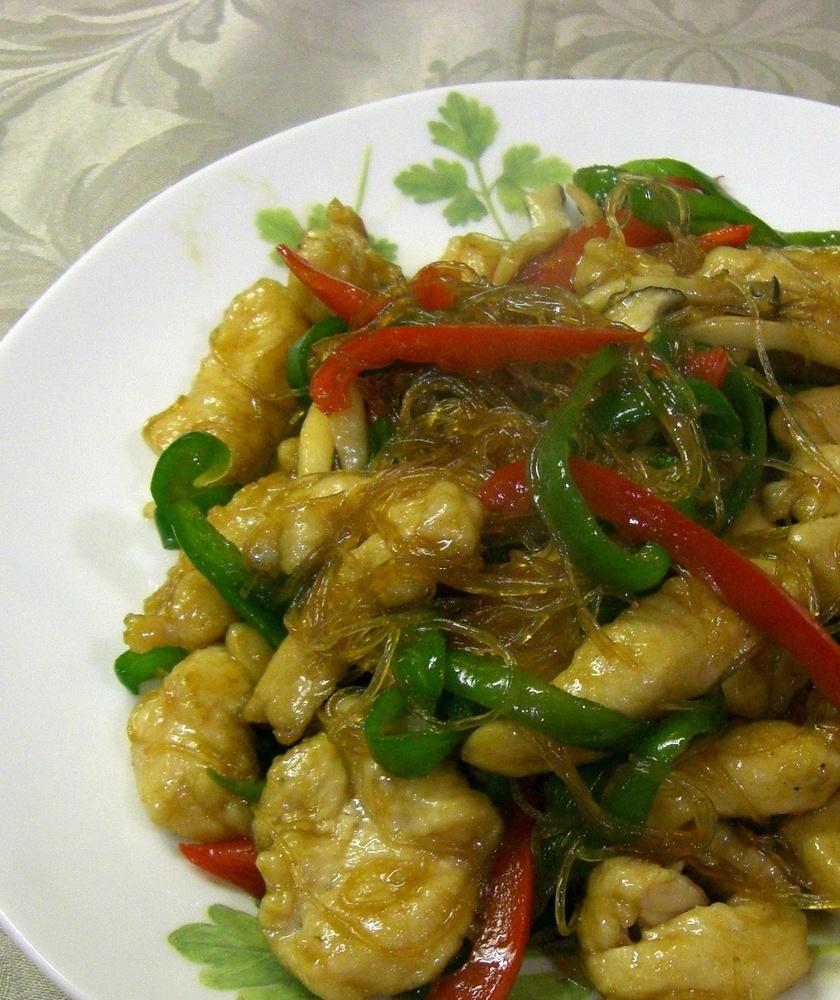 春雨と鶏胸肉の中華風炒め