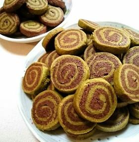 緑茶とココアのうずまきクッキー