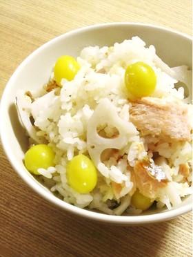 鮭と蓮根の炊き込みご飯