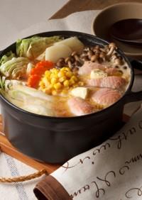 バター好きの♪鮭とじゃがいもの簡単石狩鍋