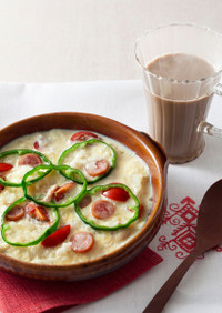 ホットラテ朝食 豆乳リゾット