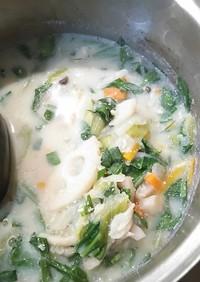 白身魚と根菜の豆乳シチュー