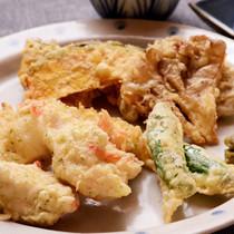 とり磯辺揚げと秋野菜の天ぷら
