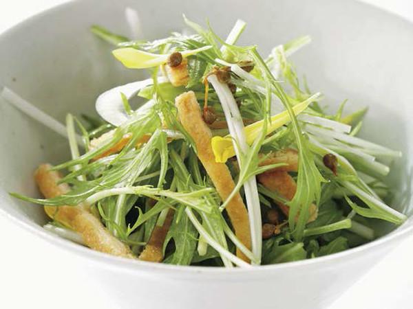 水菜と油揚げ、実山椒のサラダ