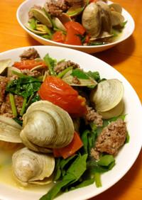ハマグリほうれん草トマト挽肉のスープ