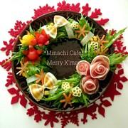 花咲くクリスマスのリースサラダの写真