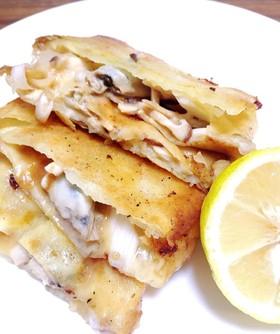 牡蠣とチーズの春巻き♪オリーブ油♪