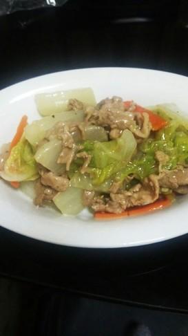 節約☆豚肉と白菜の塩あんかけ☆中華丼風