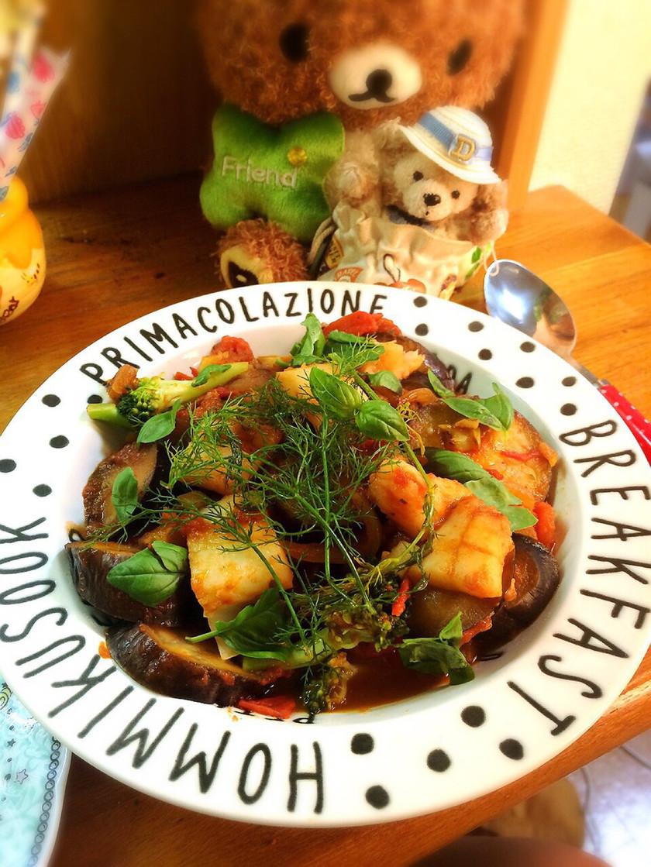 ナスとカレイのトマト煮込み