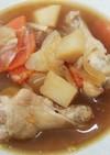 温かい!骨付チキン肉ジャガ風スープ