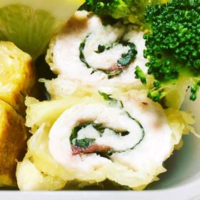 鶏むね肉の梅しそ巻き天ぷら
