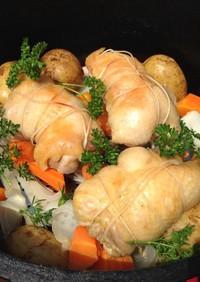 ダッチオーブンで鶏もも肉のローストチキン