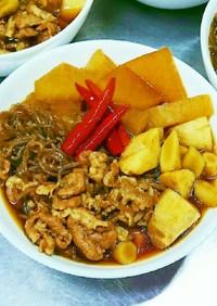 簡単激辛根野菜と牛肉糸こんダイエット