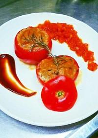 ジューシー肉汁溢れるトマトバーグファルシ