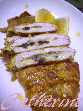 鶏胸肉のカレーピカタ レーズン&チーズ♪