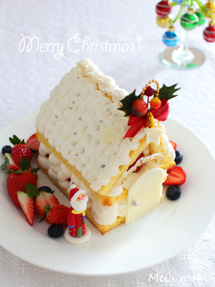 クリスマスに☆お菓子の家の簡単デコケーキ