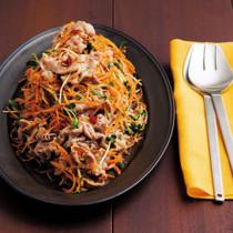 豚肉とシャキシャキ野菜のピリ辛冷しゃぶ