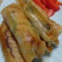 青椒肉絲でパリパリ春巻き
