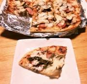 舞茸とソーセージの ゆず味噌ピザの写真