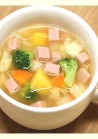 ポークソーセージと野菜たっぷり簡単スープ