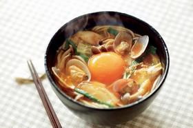 あさりのチゲスープ風温麺(うーめん)