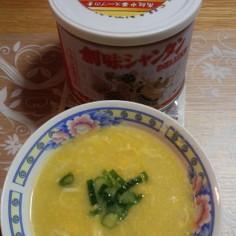 コーン缶で中華スープ