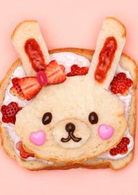 HBでうさぎの苺とホイップ・サンドイッチ