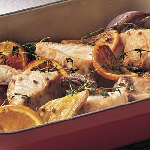 にんじんとオレンジ、白身魚の蒸し煮