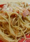 トマトのスープとベーコンで簡単パスタ☆