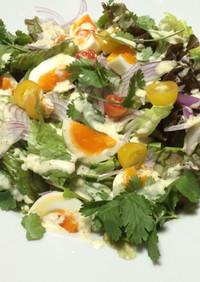 グリーンカレードレシングのサラダ
