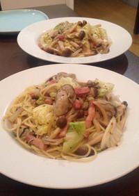牡蠣とキャベツのオイルパスタ