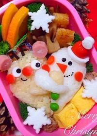 トナカイと雪だるまの仲良しクリスマス弁当