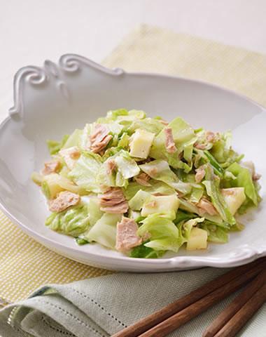 【レンジで簡単】キャベツとツナの温サラダ