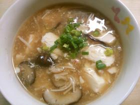 簡単♪豆腐とカニきのこのとろみ中華スープ